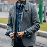 25 Grey Tweed Blazer & Blue Jeans Shirt