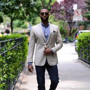 25 Light Gray Jacket and Navy Blue Pants