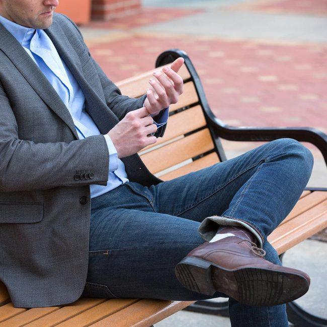 25 Slim Fit Blue Jeans & Gray Suit Jacket