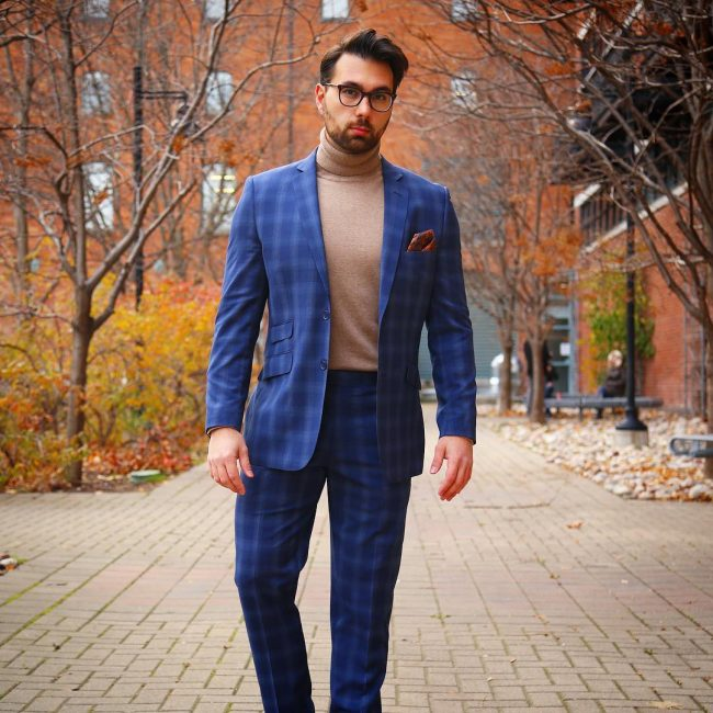26 Checkered Blue Fitted Suit & Brown Turtle Neck Sweater