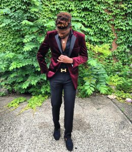 26 Fitted Black Pants & Fitted Red Velvet Jacket Suit