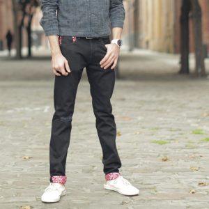 27 Cuffed Slim Black Jeans