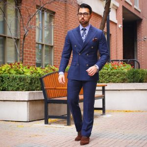 27 Double Breasted Plaid Royal Blue Suit & Brown Suede Casual Boots