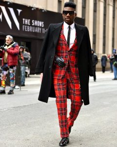 27 Fitted Red Checkered Double-Button Suit