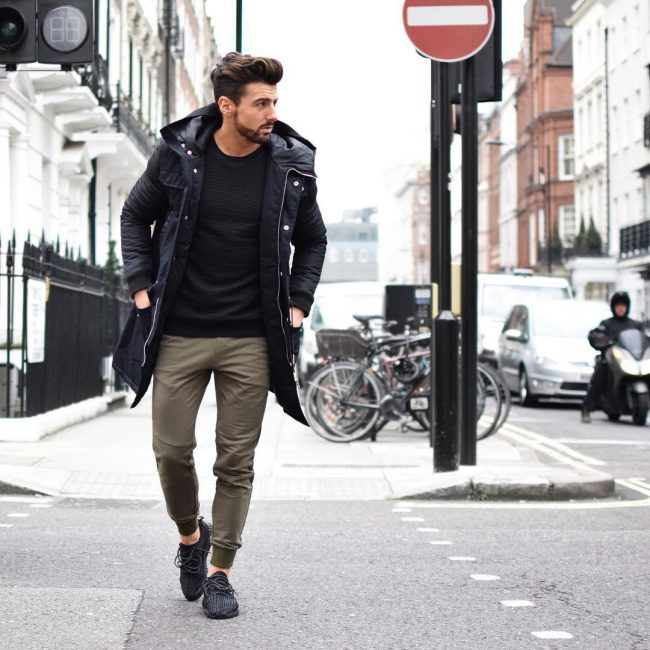 27 Parka Coat With Athletic Sneakers