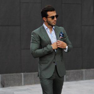 28 Dark Jungle Green Double Button Suit
