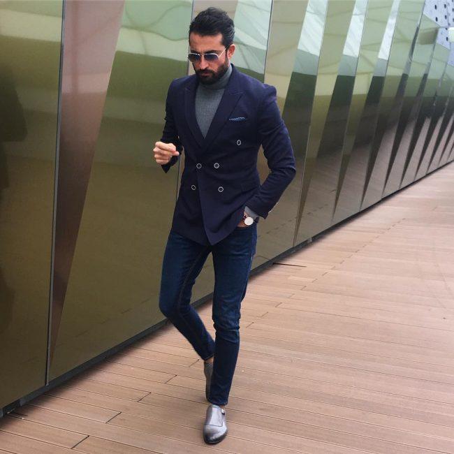 28 Slim-Fit Blue Pants & Gray Plain Toe Loafers