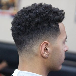 29 Thick Curls with Smooth Fade