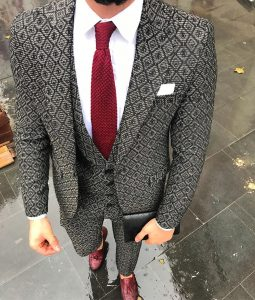 3 Black Grey Patterned Suit