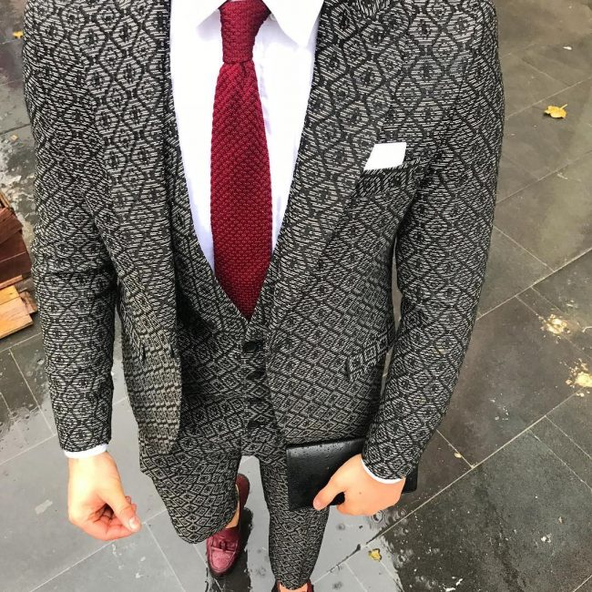 3 Black Grey Patterned Suit