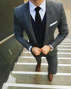 3 Deep Blue Four Button Suit Vest