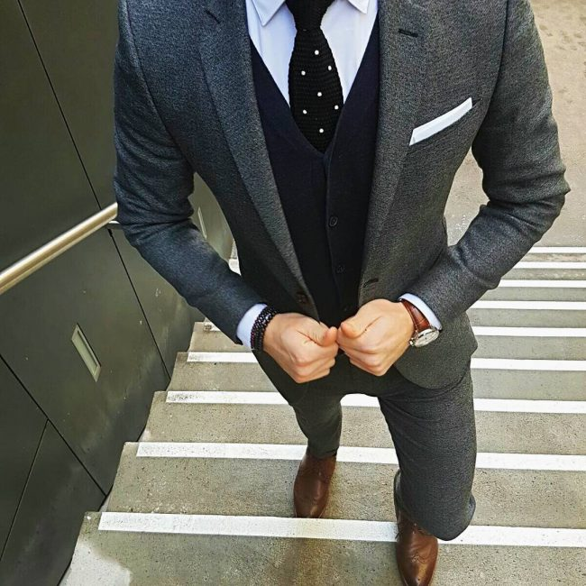 3 Deep Blue Four Button Suit Vest
