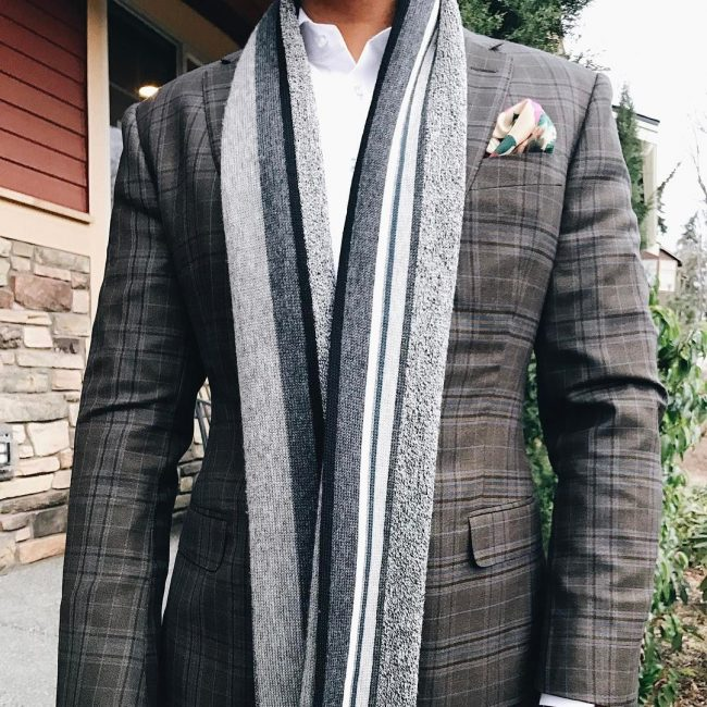 3 Fitted Gray Checkered Suit