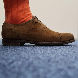 3 Lined Orange Socks and Brown Suede Combo