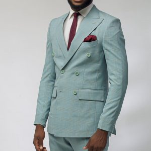 3 Plaid Teal-Blue Fitted Six Button Suit