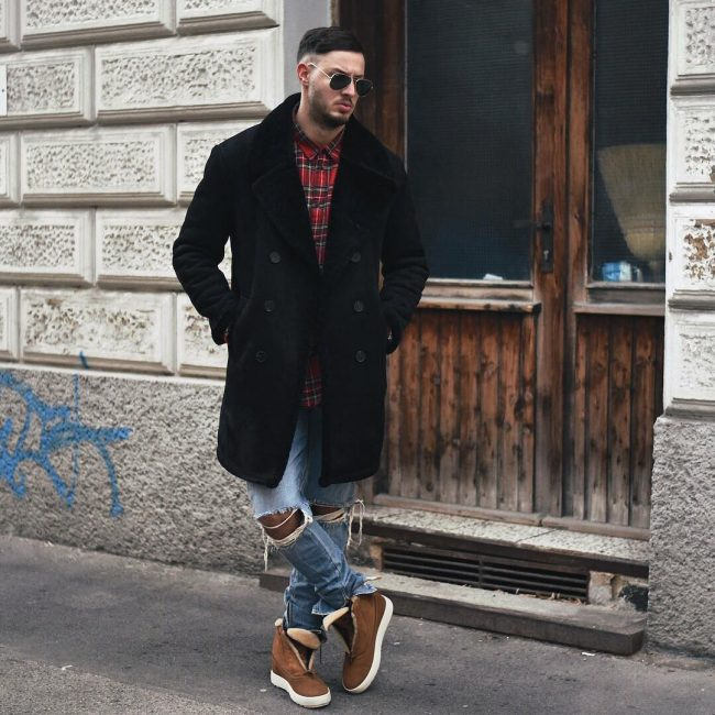 3 Red Flannel with Trench Coat and Distressed Jeans