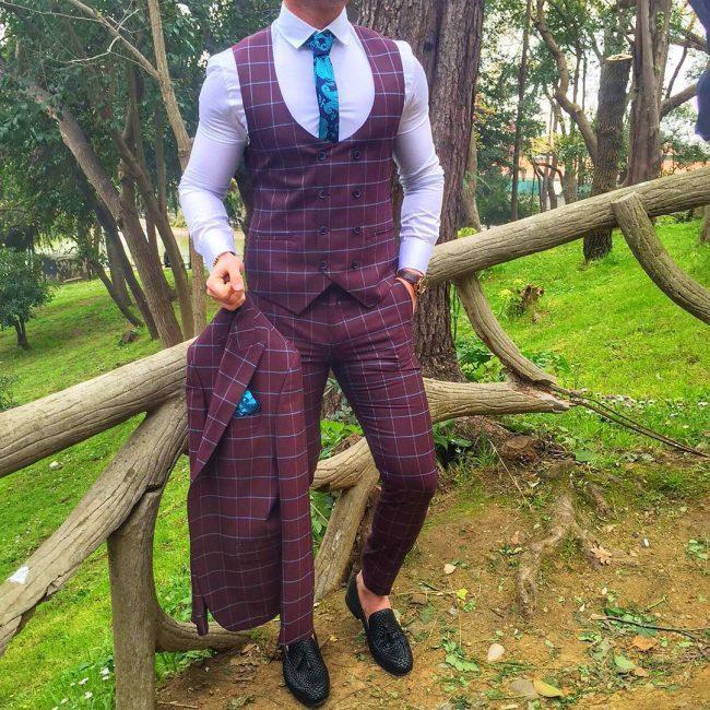 3 Squared-Suit Vest & a Matching Suit