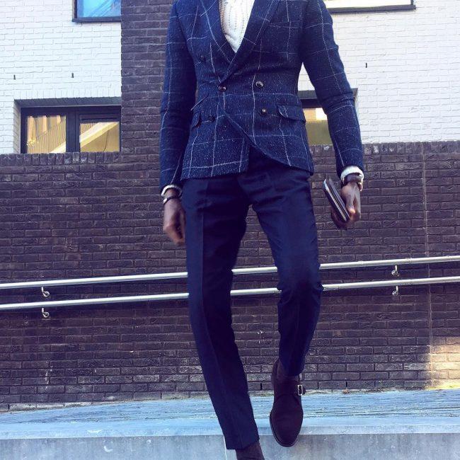 30 Slim-Fit Royal-Blue Pants & Cream White Turtleneck Sweater