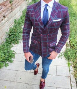 31 Slim-Fit Jeans Pants & Gray-Maroon Checkered Suit Jacket