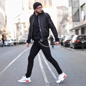 32 Black Bomber with Hoodie