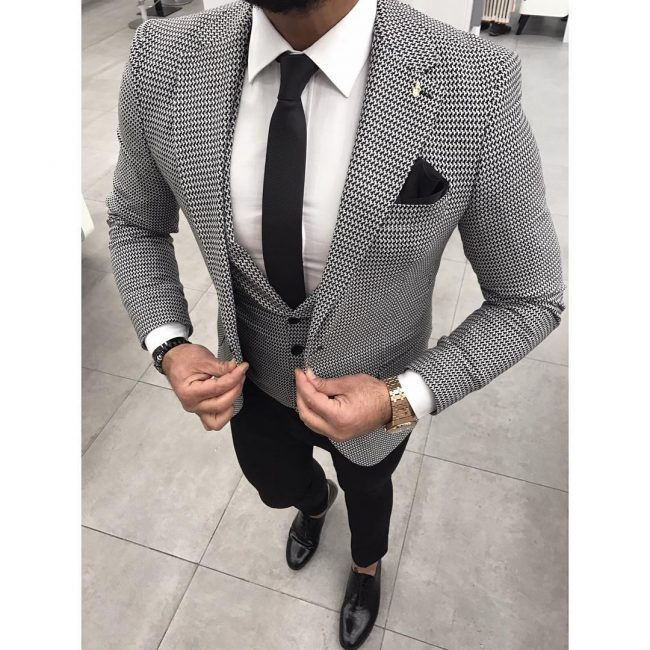 40 Admirable Black And White Suit Ideas The Perfect Color Combination New Patterned Suit Jacket