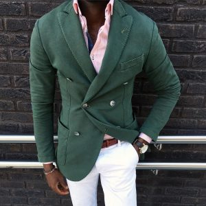 33 White Fitted Pants & Fitted Double-Breasted Green Blazer
