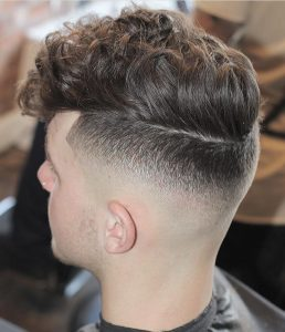 37 Curly Fade with Flopped Front
