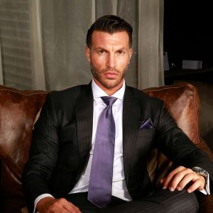 4 A Purple Tie & Black Striped Suit
