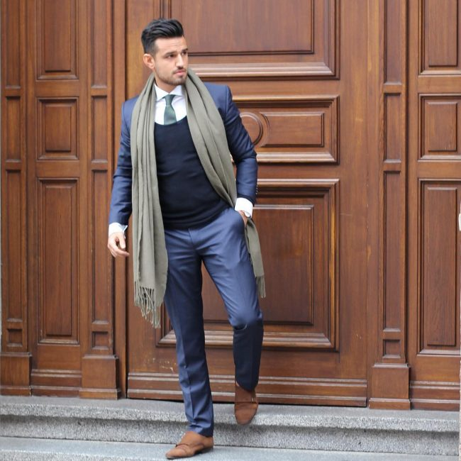 4 Classy Royal Blue Suit & Navy Blue Sweater