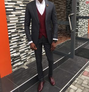 4 Fitting Gray Suit & Brown Wing-Tip Shoes