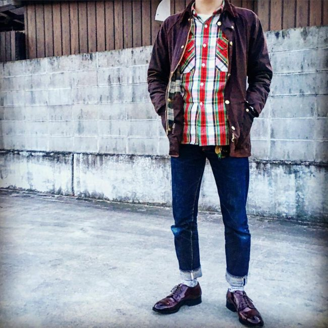4 Flannel with Raw Denim and Dress Shoes