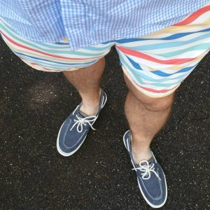 4 Navy Blue Shoes with Multicolored Striped Shorts and Blue Checkered Top