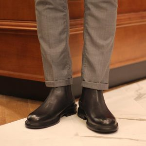 4 Wing Tip Black Chelsea Boots