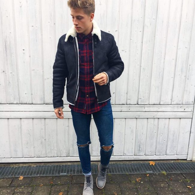 40 Winter Wool Jacket and Boots Combo