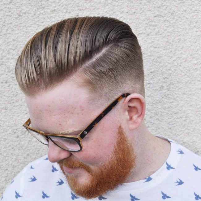 47 Classic Two-Tone Pomp with Taper Fade