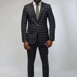 5 Black Pants & White-Black Checkered Jacket Suit