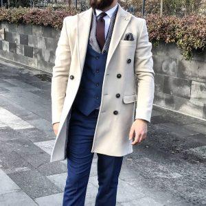 5 Deep Blue Rounded Neckline Four Button Suit Vest