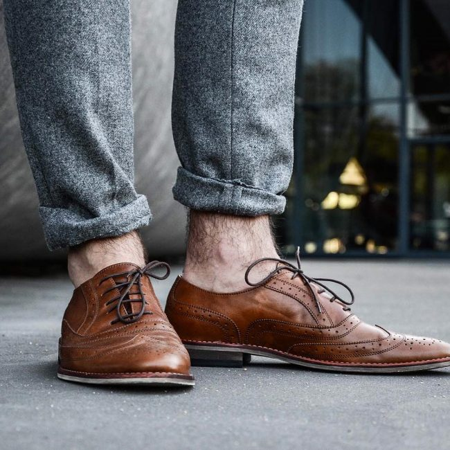 5 Gray Wool Pants & Brown Brogued Wing-Tip Shoes