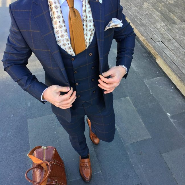 5 Royal Blue Checkered Designer 3-Piece Suit