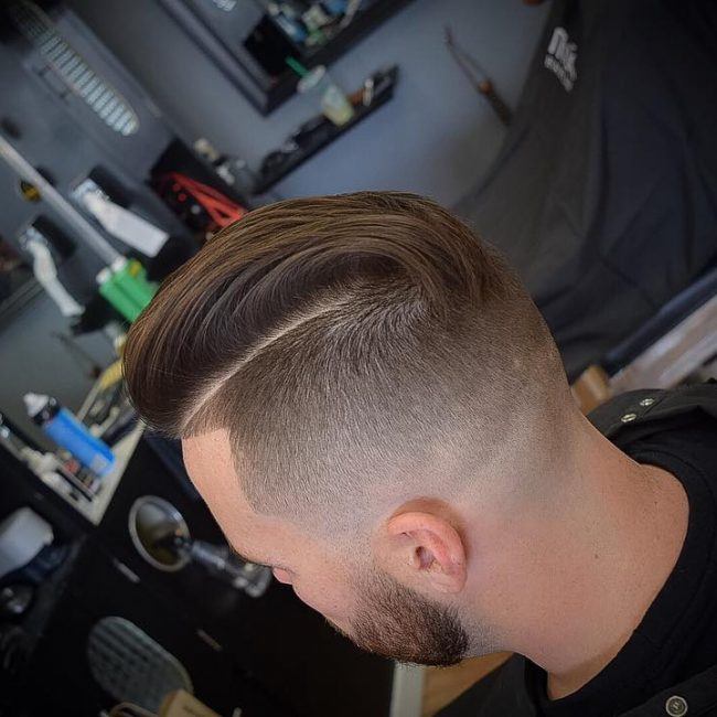 5 Sleek Wavy Pomp with Low Skin Fade
