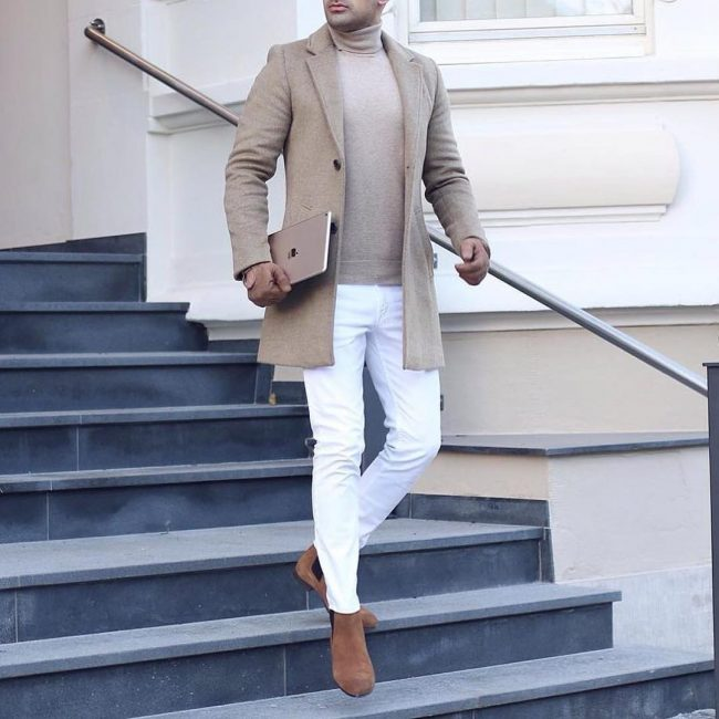 5 Slim Fit Pants & Brown Overcoat