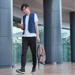 6 A Blue Designer Vest & Black Pants