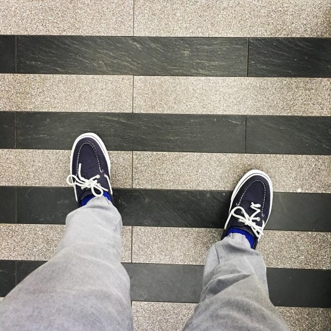 6 Blue Boat Shoes and Gray Denim Jeans