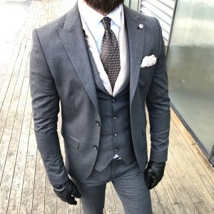 6 Cloth Pin Stripe Four Button Suit Vest