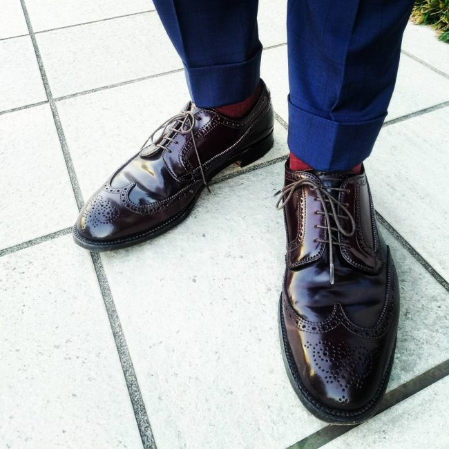 6 Dark Tan Brogue Cap Toe Shoes