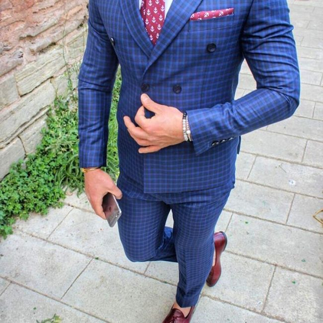 6 Flashy Royal Blue-Black Checkered Fitted Suit