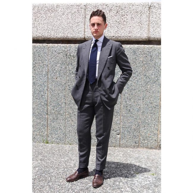 6 Grey Fitted Suit & Brown Loafers