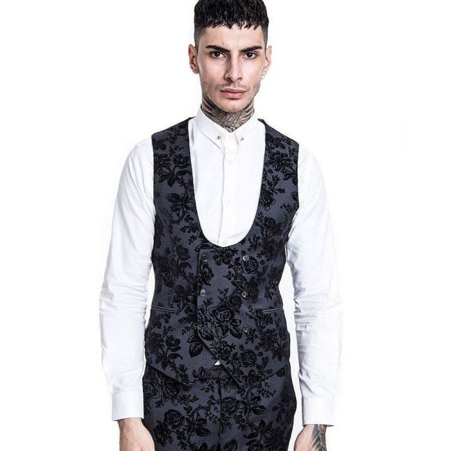 7 Black Fleet Waistcoat With Matching Trouser
