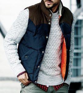 7 Blue-Brown Bubble Vest & Grey Sweater