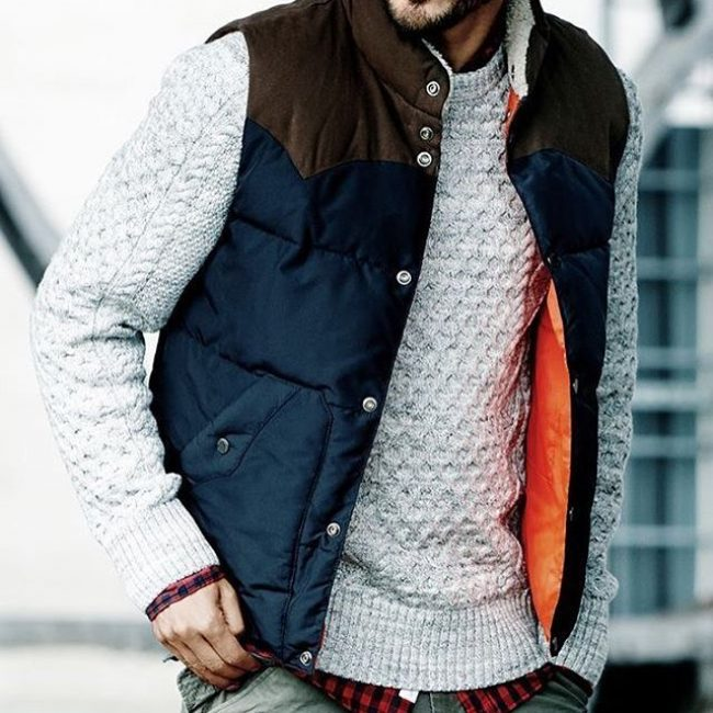 7 Blue-Brown Bubble Vest & Grey Sweater